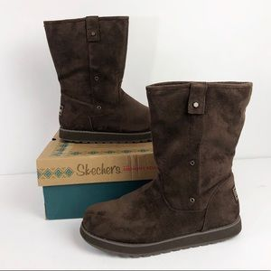 SKETCHERS Brown Shearling Suede Boots Foldover